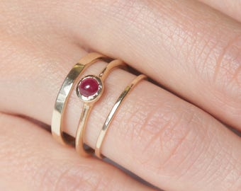 14k Ruby Ring Set  | 14k Gold Ring Set |  Fair Trade Ruby