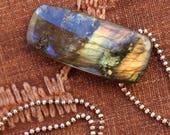 Drilled Labradorite Pendant + Reversible + Artisan Jewelry + Modern + Contemporary + Talisman + Sterling Bead Chain + OOAK