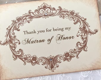 Thank you for being my Matron of Honor Card, Matron of Honor Thank You Card