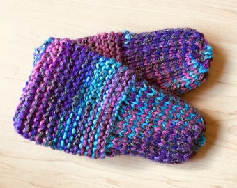 Hand-knit multicolored slippers