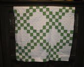 Antique Green Quilt Piece | Old Green Quilt Piece | Vintage Green Quilt Piece | Cutter Quilt Piece | Quilt Piece For Crafts | 28 x 29
