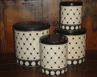 Old Tin Canister Set | Vintage Black and White Canister Set | Antique Canister Set | Farmhouse Kitchen Canisters