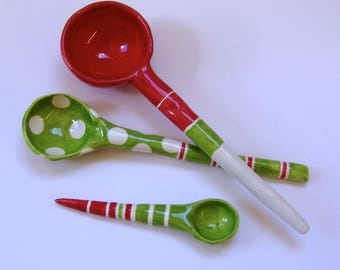 Red & Lime green  pottery Serving Spoons, set of 3, stripes whimsical ceramic Hostess Gift