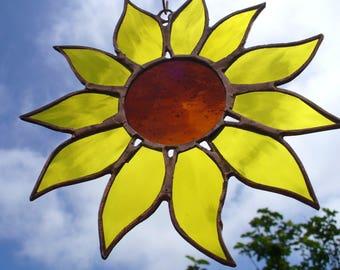 Sunflower Power, Stained Glass Sunflower, Sunflower Suncatcher - Hand Made