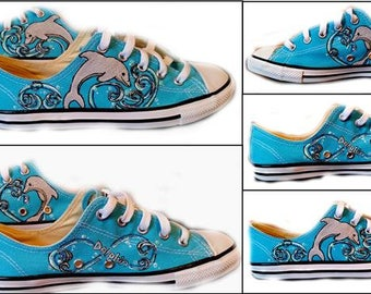 Dolphin, Converse, Dolphin Sneakers, Chucks, Wedding, Ocean, Sea Life, Message Me for Size Availability in Blue, Shoes Included