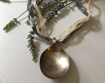 Large Vintage Silver Plated Spoon Pendant - Silk and Vintage Lace - shabby
