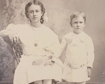 CLEARANCE SALE - Antique Photograph Brother Sister Portrait Victorian Cabinet Card