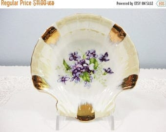 CLEARANCE SALE - Vintage Japanese Shell Shaped Dish/Bowl with Violets and Gold Designs