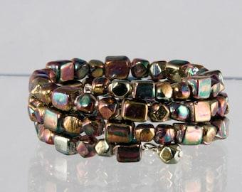Coppery Bead Bracelet -  Raku Beads on Memory Wire