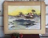 Antique Oil Pastel Drawing Cabin Landscape Boat Snow