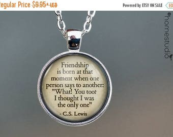 ON SALE - CS Lewis (Friendship) Quote jewelry. Necklace, Pendant or Keychain Key Ring. Perfect Gift Present. Glass dome metal charm by HomeS