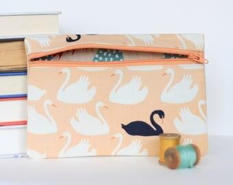 Black Swan Zipper Bag Wallet Case Pink Swan Print