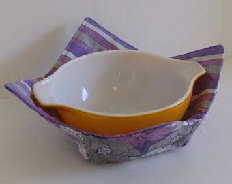 Large Microwave Bowl, Fabric Bowl, Purple and Gray, Flowers, Stripes, Food Warming, Serving Bowls, Microwave Cooking, Bridal Gift