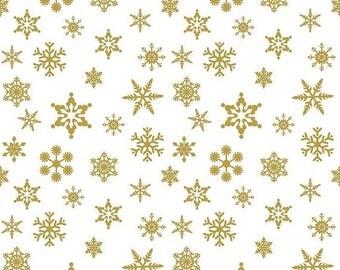 ON SALE Sparkle Gold Snowflake On White - 1/2 Yard