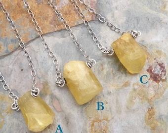 Raw Heliodor Necklace, Yellow Golden Beryl Gemstone Minimalist Necklace, Sterling Silver, #4811