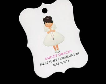 25 Personalized Communion Favor Tags - First Communion Tags - First Holy Communion Favor Tags - Girls Communion Tags - Dark Brown Hair