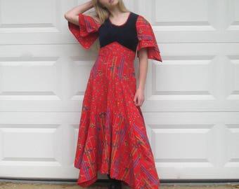 hippie dress . folk dress. blue velvet dress . boho dress . country western dress . little flower dress