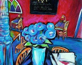 Original Painting - Wall Art France - Painting of France - The Cafe - Saint Remy de Provence, France - Van Gogh - Wall Art Flowers