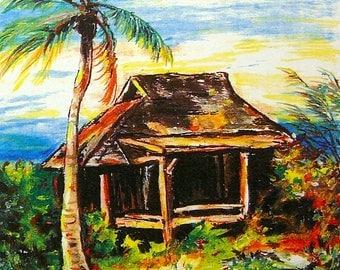 Beach Art - Original Beach Art - Norman's Cay - Bahamas Art - Ocean View Art - Original Oil Pastel Art