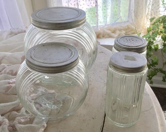 Depression Glass Jar and Spice Set Cookie Biscuit Tin Lids