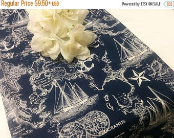 ON SALE NAVY Nautical Maps Table Runner or Napkin or Placemat,  blue runner,  Ships, Nautical, Beach, Wedding Bridal, Shower,
