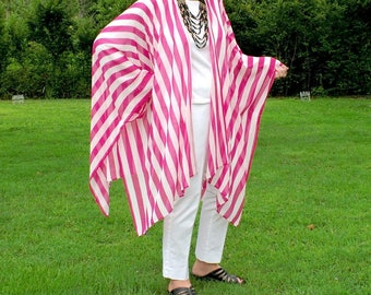 Rosy Red and White Stripe Caftan, Kimono, Shawl, Wrap, Ruana, or Swimwear Coverup-Airy, Sheer and See Through-Beach Wear--One Size Fits Most