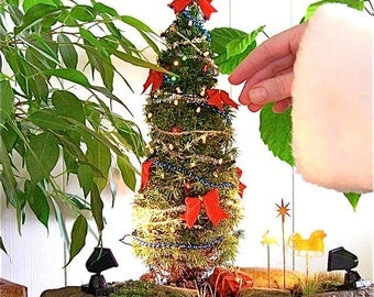 Oh Miniature Christmas Tree! For Miniature Garden, Fairy Garden, Centerpieces, Holiday, Gifts, Office Gift, Gardener Gift, Hardy, Outdoors