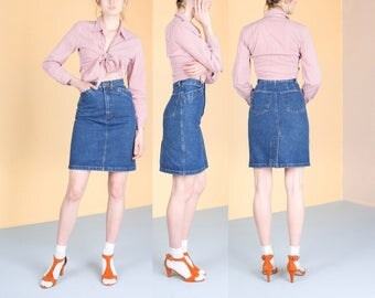 JEAN SKIRT 90S DENIM skirt High Waist vintage G A P gap spring summer / Small / size 2 / 25 waist