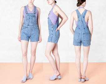 DENIM OVERALL SHORTS jean women 90s Small basics spring summer Vintage / Better Stay Together / Xs