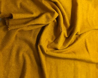 Hand Dyed Honey Mustard Raw Silk Noil Fabric - 1 Yard