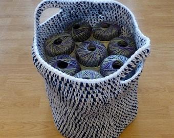 Storage Basket Crochet Blue and White Handles Tote Bag Market Bag Shopping Bag  Heavy Duty