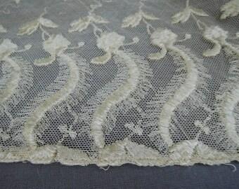 Antique Lace Lot, Embroidered Cotton Tulle Remnants, Edwardian 1900s Vintage Dress Scraps