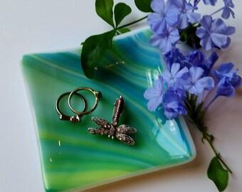 Green and Blue Glass Dish - Ring Dish - Jewelry Dish - Trinket Dish