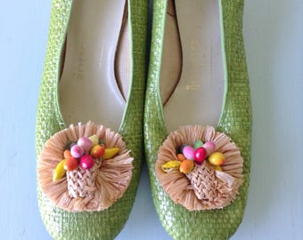 1960s green wedge heels by Joyce California