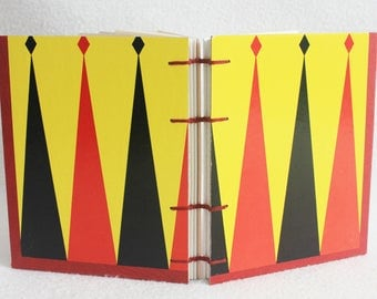 Backgammon Journal Recycled Game Board Book Upcycled Vintage Gameboard by PrairiePeasant