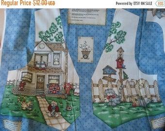 50% OFF SHOP SALE Fences and Friends Vest by Kathi Walters - Cut & Sew Fabric Panel - Cottage - Cats - Birdhouses - Size Sm - Xl