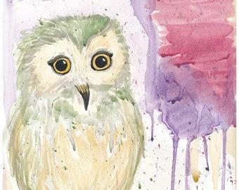 Owlet Watercolor, Original Art