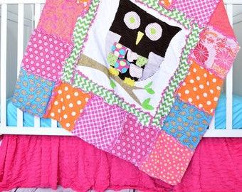 Owl Crib Bedding Crib Set for Girls - Turquoise/ Orange/ Pink Bedding Girl Room Decor- Little Girl Bedding - Quilt / Crib Skirt / Crib Sheet