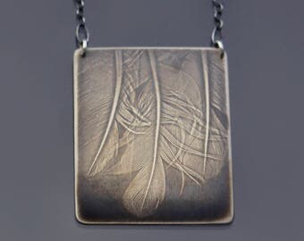 Rustic Sterling Silver Three Feathers Necklace