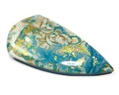 Polymer Clay & Resin Shield Focal Cabochon Artisan Bead Embroidery Pendant Turquoise Gold Leaf Cab Handcrafted Bead