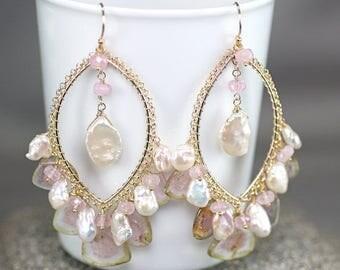 Summer SALE Watermelon Tourmaline slice, Pink Afghan Tourmaline, white Keishi Pearl, 14k gold filled hooks ... KVETA Earrings