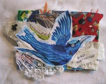 BIRD WATCHING -  Original Fabric Folk Art Collage Assemblage - Recycled Materials -  myBonny