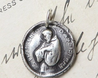 ON SALE St Francis of Assisi Wax Seal Medal - Patron of animals and the environment