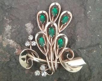 Vintage Rhinestone Brooch, Gold and Green Brooch, Vintage Brooch, Faux Emerald Brooch, April Jewelry, Floral Brooch, Flower Brooch