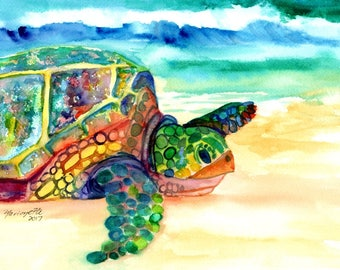 sea turtle art, turtle watercolors, sea turtles, rainbow turtles, kauai arts, original watercolors,  hawaiian honu,  hawaii kauai maui oahu
