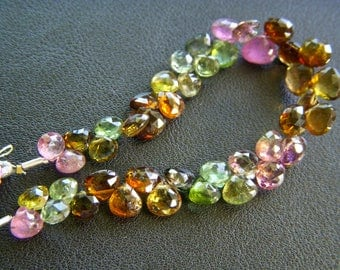 Multi Tourmaline Faceted Hearts - Full Strand - 5.5 to 7mm - 6 Inches