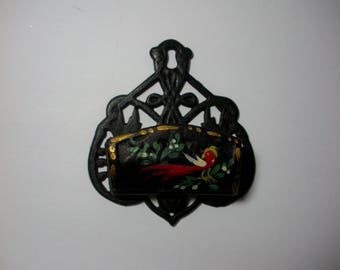 Vintage Iron Wall Mount Match Holder, Kitchen,Matchbooks, Handpainted