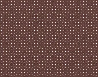 Riley Blake Designs, White Swiss Dot on Brown  (C670 90)