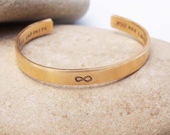 Bronze Infinity Cuff, Girl's Cuff, You are Infinite You Are Limitless, Empowerment Jewelry, Infinity Bracelet, Graduation Gift