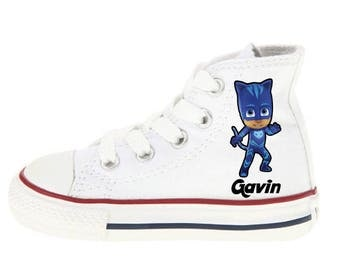 PJ Mask Shoes - Catboy Shoes - Custom Kid Converse Shoes - Custom Personalized High Top Converse Shoes